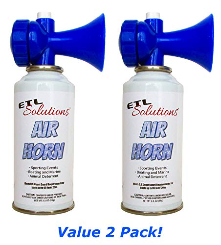 ETL Solutions 3.5oz Safety Air Horn - Very Loud - Ideal for Boating, Sports Events, Aggressive Animals - Value 2 Pack!
