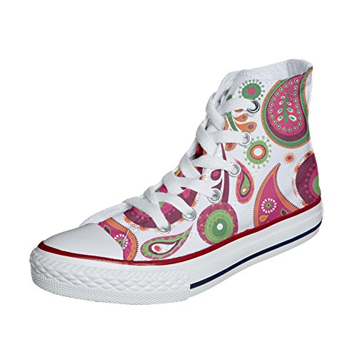 Converse All Star zapatos personalizados (Producto Artesano) White Green Paisley 2