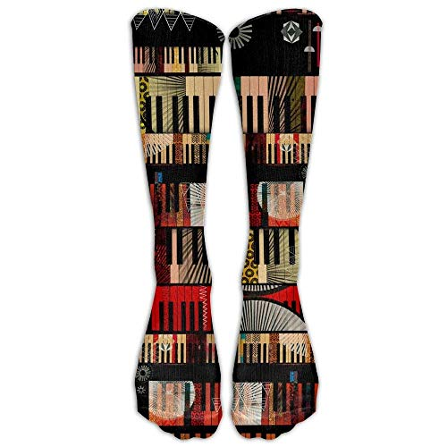 Baseball Musical (Piano Musical Comfortable Knee High Sport Sock for Women Or Man Baseball Socks)