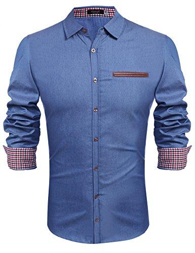Hasuit Men's Casual Jeans Dress Shirt Long Sleeve Button Down Shirts,Light Blue,Medium