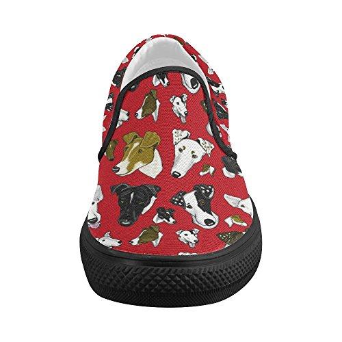 Sneaker Di Moda Su Misura D-story Custom Smooth Fox Terrier Rosso / Nero Da Donna