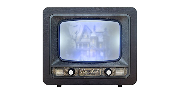 13 Inch Antique Haunted Television Halloween Prop with Multiple Spooky Scenes and Sound Effects