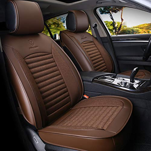 Santonliso All-inclusive Car Leather Linen Breathable Seats All Seasons Five Universal Car Seat (Color : Coffee):