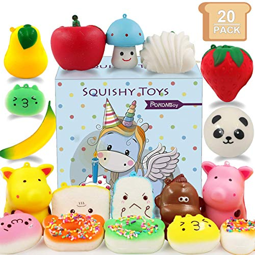 POKONBOY Mini Squishies Squishy Toys - 20 Pack Mini Cute Cream Scented Food Squishies Slow Rising for Kids Easter Egg Fillers Stress Relief Squishy Toys Party Favors (Keychain Included) (Squishee Clip)