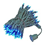Novelty Lights 100 Light LED Christmas Mini Light Set, Outdoor Lighting Party Patio String Lights, Blue, Green Wire, 34 Feet