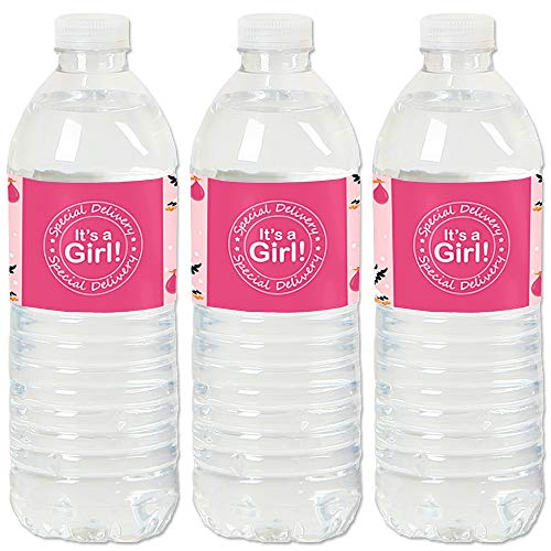Stork Baby Girl Shower - Girl Special Delivery - It's A Girl Stork Baby Shower Water Bottle Sticker Labels - Set of 20