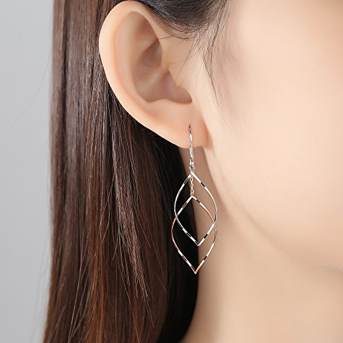 Rose Gold Plated Sterling Silver Double Linear Loops Design Twist Wave Drop Earrings for Women Girls by JORA (Image #1)