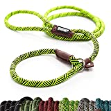 Friends Forever Extremely Durable Dog Slip Rope Leash Premium Quality Mountain Climbing Lead Strong Sturdy Support Pull for Large and Medium Sized Pet 6 feet Green