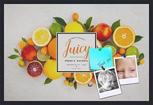 PinPix decorative pin cork bulletin board made from canvas, Recipe Board with Fruit 36x24 Inches (Completed Size) and framed in Satin Black (PinPix-Group-36) by PinPix