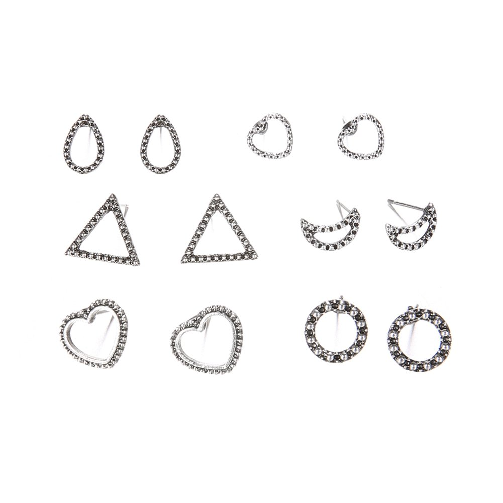 Wintefei Win6 Pairs/Set Antique Boho Women Heart Round Teardrop Moon Triangle Stud Earrings - Antique Silver