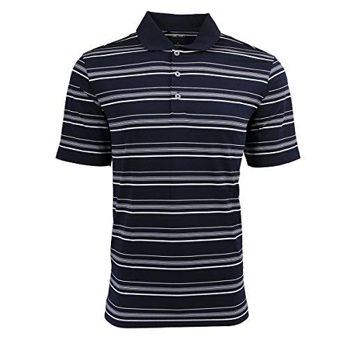 adidas Golf Mens Puremotion Textured Stripe Polo (A123) -Navy/White -M