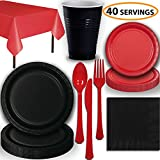 Disposable Party Supplies, Serves 40 - Black and Red - Large and Small Paper Plates, 12 oz Plastic Cups, Heavyweight Cutlery, Napkins, and Tablecloths. Full Two-Tone Tableware Set