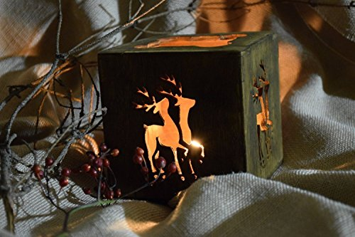 Rustic Christmas candle holder (Holder Candle Rustic Reindeer)