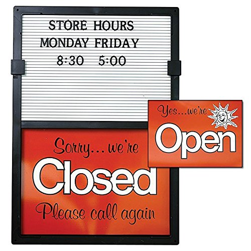 Closed Message Board - New Black frame Red/White Open/Closed sign with Message Board