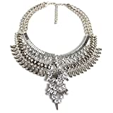 Vintage Anti Silver Gold Tone Long Boho Statement Necklace Flower Tassel Bohemian Indian Jewelry Choker Necklaces