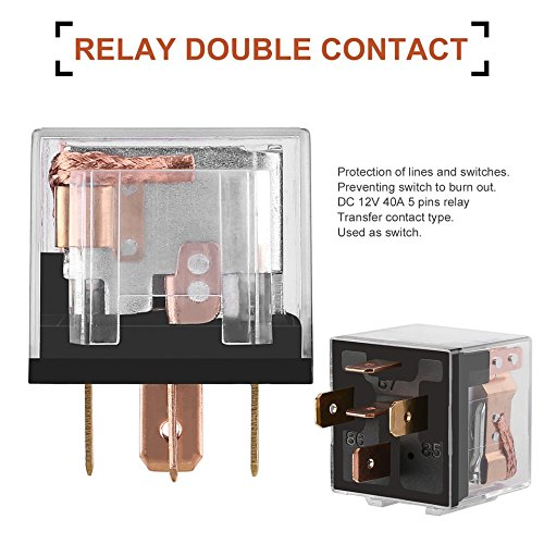 Baynne DC 12V 40A 5 Pin Post Car Relay Double Contact Car Switch Power Relay Color:Clear and Black
