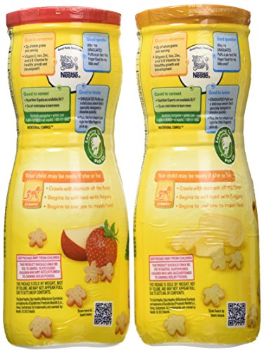 Gerber Graduates Puffs Cereal Snack, Banana and Strawberry Apple, 6 Count