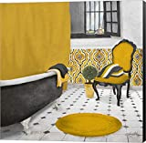 Pictures of Bathtubs Sundance Bath I (yellow) by Elizabeth Medley Canvas Art Wall Picture, Museum Wrapped with Black Sides, 12 x 12 inches