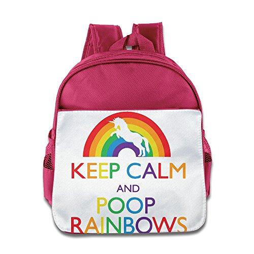 XJBD Custom Cool Keep Clam And Poop Rainbows Teenager School Bagpack Bag For 1-6 Years Old Pink - Ellen Funny Kid Costumes