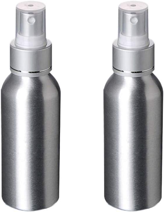 Lurrose 2pcs 120ML Botella de aerosol vacía portátil Aleación de aluminio respetuosa del medio ambiente Recargable atomizador atomizador contenedores