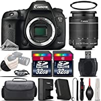 Canon EOS 7D Mark II DSLR Camera with Built-In GPS Receiver & Digital Compass + Canon 18-55mm IS STM Lens + 64GB Storage + Wrist Grip Strap + Case + UV Filter + Card Reader - International Version