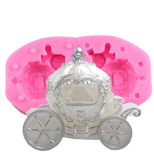 3D Pumpkin Carriage Silicone Candle Mold Wedding Fondant Cake Decorating Tools Chocolate Mould Resin Clay Soap Baking Mould Resin Clay Jelly Pastry Dessert Molds Bakeware Pan Kitchen Baking Tool