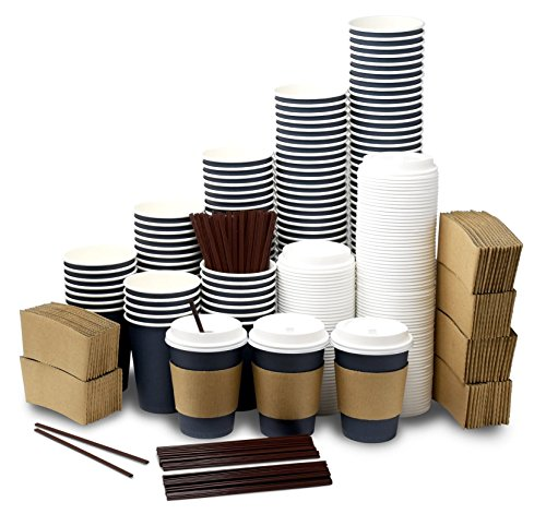 To Go Paper Coffee Cups with Lids, Sleeves & Stirring Straws 120 Pack - 12 Oz