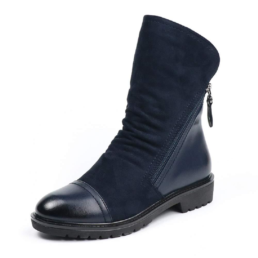 SHANGWU Herbst-Winter-Frauen-Stiefel täglich warme Schuhe Mode für Frauen Faux Wildleder Flache Mitte-Kalb-Stiefel schwarz blau Schuhe