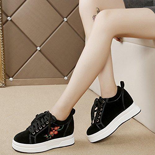 Cybling Hoogte Toenemende Verborgen Sneakers Dames Casual Mode Schoenen Zwart