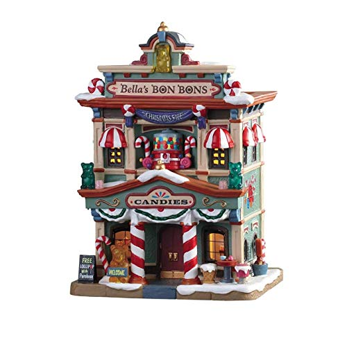 Lemax 95509 Bella's Bon Bons, New 2019 Caddington Village Collection, Porcelain Colorful Decorated Miniature Lighted Building, X'mas Decor/Gift/Collectible, On/Off Switch, 7.95