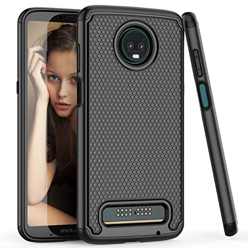 (TILL for Moto Z3 Play Case, Moto Z3 Cover, TILL(TM) [Black] [Shock Absorption] 2 In 1 Dual Layer Hybrid Armor Defender Rubber Hard Plastic Protective Grip Cute Case Cover Shell for Moto Z Play 3rd Gen )