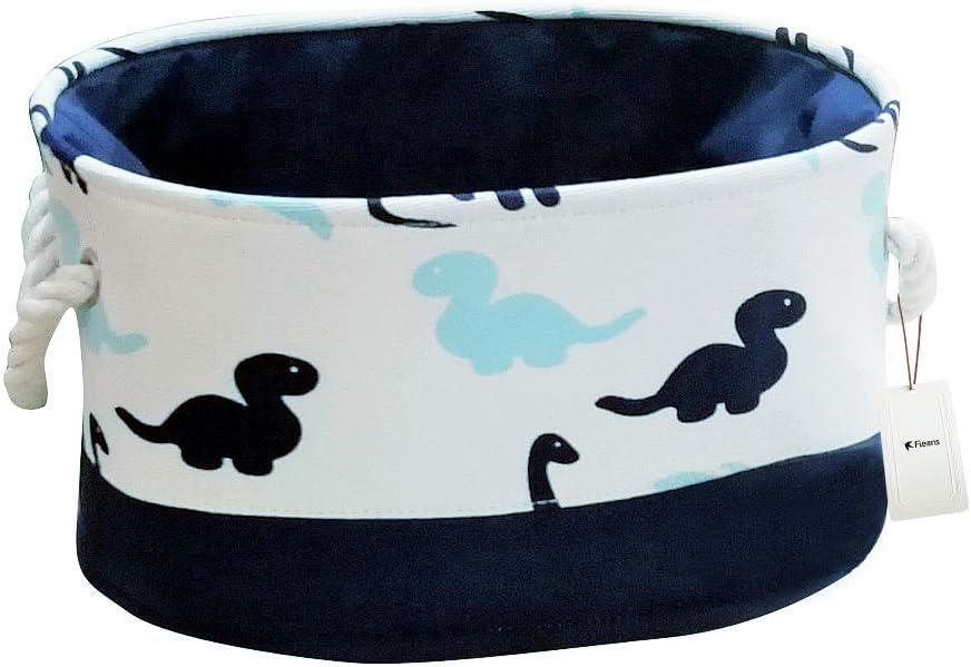 Dinosaures//Bleu//Ovale Salle de Bain ou Buanderie Pliable Corbeille /à Linge avec Poign/ée Fieans Bo/îte de Rangement Jouets Panier de Stockage pour Chambre denfant