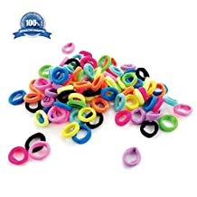 Hair Bands Ties Elastics for Girl Toddler Women, 100PCS Random Color, No Crease Ponytail Holders, Tiny Soft Rubber Bands for Baby Kids Women, 7MM Small Size No Aches Durable Hair Accessories