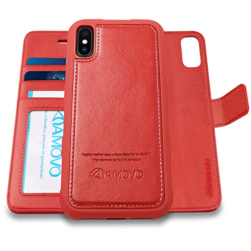 [Upgraded Version] AMOVO Case for iPhone Xs Max [2 in 1] iPhone Xs Max Wallet Case Detachable [Wireless Charger] [Vegan Leather] iPhone Xs Max Flip Case with Gift Box Package (XS MAX (6.5) Red)