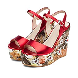 Wedge Heel Sandals In Leather & Flower