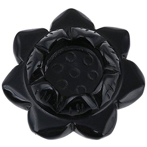 SUNYIK Natural Black Obsidian Carved Lotus Flower Candle Holder,Crystal Ball Stand,Healing Crystal Sculpture 2