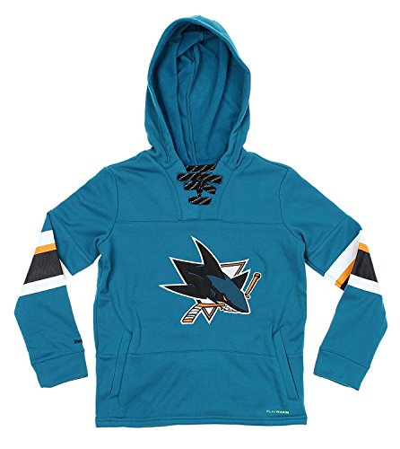 - Reebok NHL Youth Offside Poly Fleece Pullover Hoodie, Team Options (San Jose Sharks, Medium (10-12))