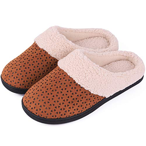 - Women's Comfort Micro Suede Memory Foam Slippers Anti-Skid Plush Fleece House Shoes for Indoor Outdoor Use (9-10 M US, Tan)