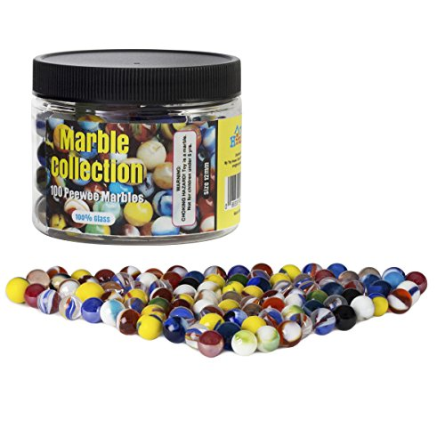 Set of 100 Small Peewee Glass Marbles, Assorted Colors, with Marble Jar For Storage
