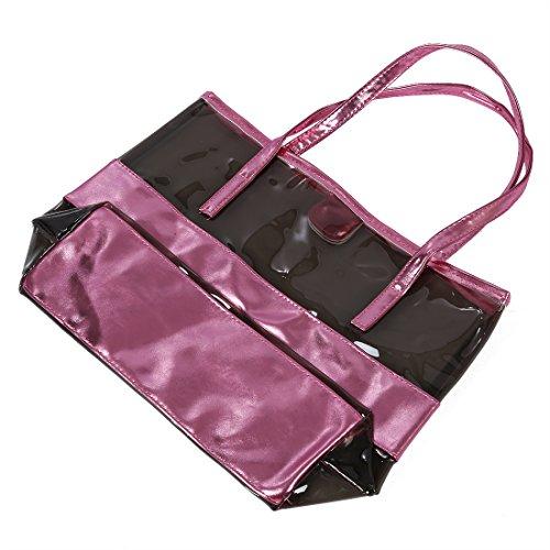 mujer Bolsa de Mano - SODIAL(R) Impermeable Mitad Transparentes Bolsa de Mano, Bolso de Playa del PVC y Poliester con el Bolso Cosmetico Pequeno (dorado) varios_colores