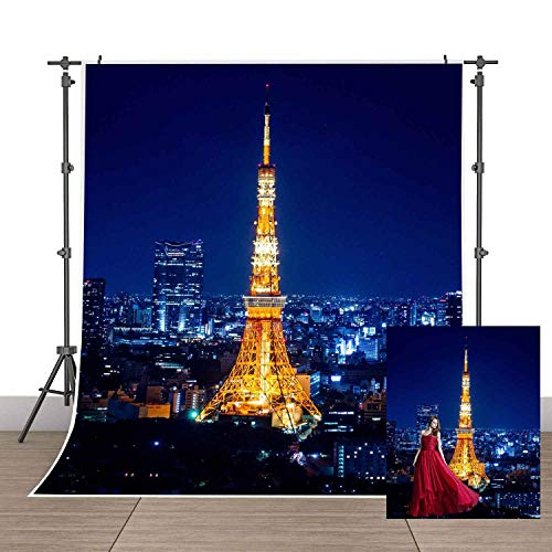 Japanese City Night Scene Backdrop Tokyo Tower Building Photography Background MEETSIOY 5x7ft Themed Party Photo Booth YouTube Backdrop -