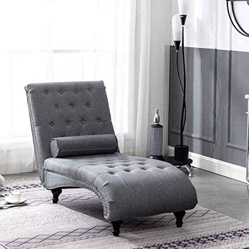 Amazon Com Carambola Dark Grey Chaise Lounge Chair Tufted Fabric With Pillow For Living Room Bedroom Wooden Frame Dark Grey Kitchen Dining