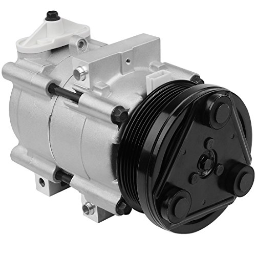 6 Grooves A/C Compressor & Clutch for Ford F-150, F-150 Heritage, F-250 Super Duty, F-350 Super Duty, Mustang, Thunderbird, Excursion, Crown Victoria - Mercury Cougar, Grand Marquis - Lincoln Town Car (Ford Compressor)