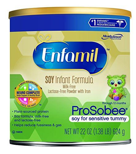 Enfamil ProSobee Soy Infant Formula, Powder, 22 Ounce Can, Pack of 4