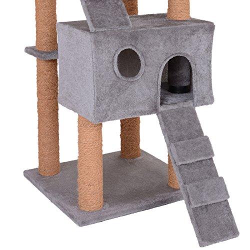 Leopet - Árbol rascador para Gatos con Cuevas y escaleras - Color Gris: Amazon.es: Hogar