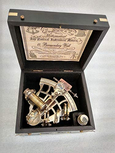 US HANDICRAFTS J. Scott London Brass Ship History Sextant with Hardwood Box. Vintage Solid Antique Brass Nautical Functional Maritime Sextant   Nautical Navy Decor Gifts. by US HANDICRAFTS (Image #2)