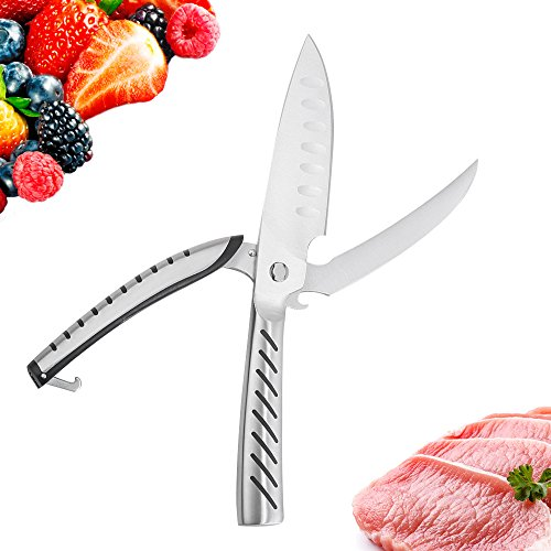 Poultry Scissors Stainless Steel Kitchen Shears Heavy Duty for Cutting Herbs, Meat, Fish, Poultry, Bone, Chicken- Separable Cutting Knife and Bottle Opener- Multi-Purpose Cooking