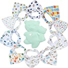 Gemini Fairy Baby Bandana Drool Bibs, Unisex 10-pack Absorbent Cotton, Lovely Baby Gift for Boys & Girls (Model 2)