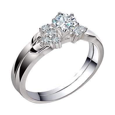 Amazon.com: Anillo de boda para mujer de acero inoxidable ...