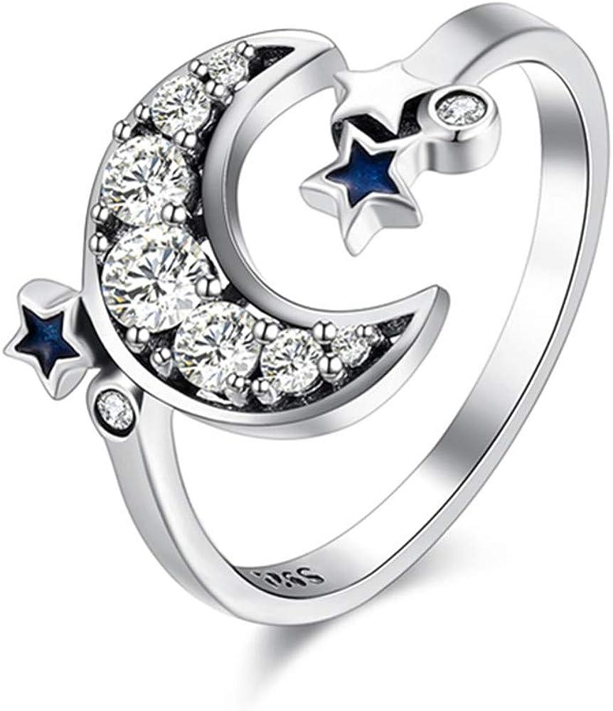 XCFS BEAUTY Anillo de plata de ley con circonita cúbica chapada en platino con luna azul y doble estrella ajustable